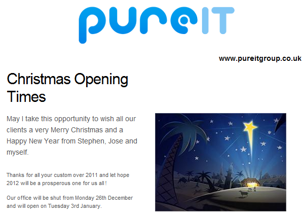 Pure IT December 2011 Newsletter
