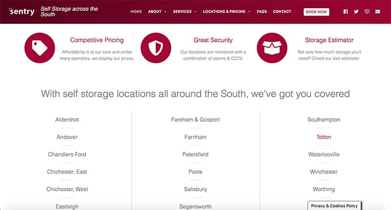 Sentry Self Storage website built and maintained by Pure IT - web design, hosting & SEO